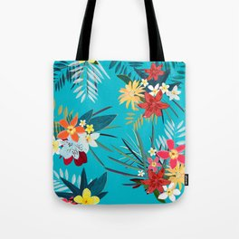 Frangipani, Lily Palm Leaves Tropical Vibrant Colored Trendy Summer Pattern Tote Bag