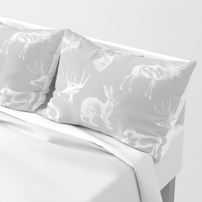 Woodland Critters in Grey Pillow Sham