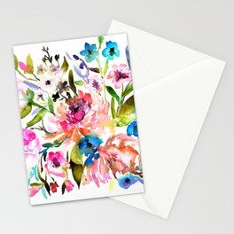 WATERCOLOUR PEONY AND ROSES Stationery Cards