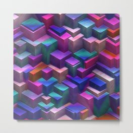 Modern Blocks in blue and pink Metal Print