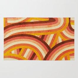 Vintage Orange 70's Style Rainbow Stripes Rug