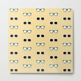 All Them Glasses - Yellow Metal Print