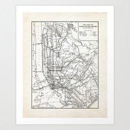 New York City Rapid Transit System Map Art Print