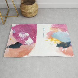 Cotton Candy: a bright, colorful abstract in pinks, blues, yellow, and white Rug