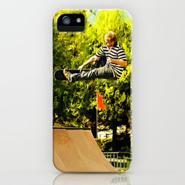 Flying High on Skateboard Ramp at the Park iPhone Case