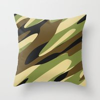 camo Throw Pillows featuring Camo by SShaw Photographic