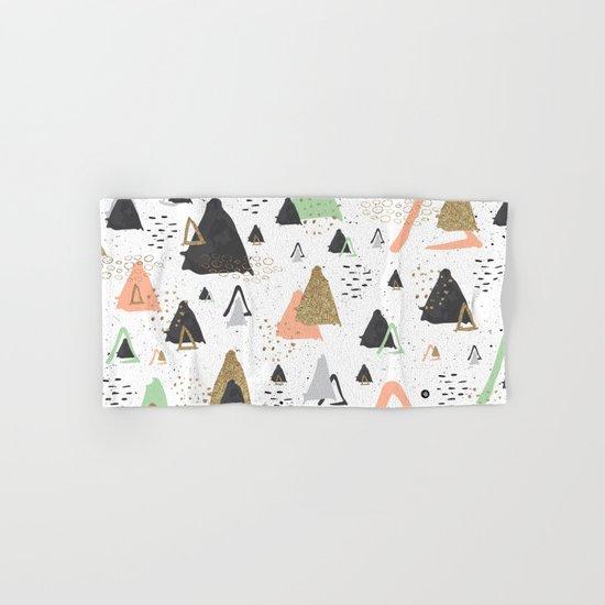 Triangles & textures watercolor Hand & Bath Towel