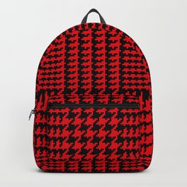 Red and Black Houndstooth Plaid Backpack