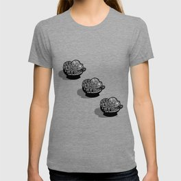 Lo-Maintenance Men & Cacti Black and White Trendy Illustration T-shirt