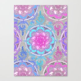 Pink, Purple and Turquoise Super Boho Doodle Medallions Canvas Print
