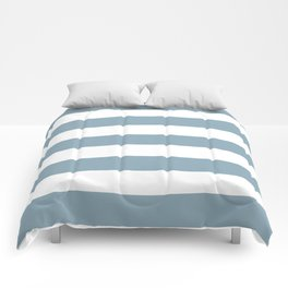 Pewter Blue - solid color - white stripes pattern Comforters
