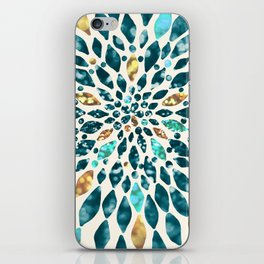 Glitter Dahlia in Gold, Aqua and Ocean Green iPhone Skin