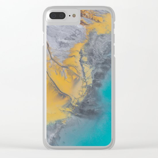 Turquoise World Clear iPhone Case