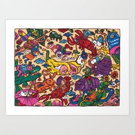 Hug elephant Art Print