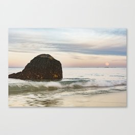 Pastel Moon rise at the beach Canvas Print