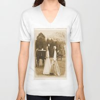 battlefield V-neck T-shirts featuring Strolling on the Battlefield by Frankie Cat