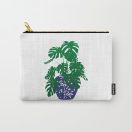 Chinoiserie Ginger Jar and Monstera Plant   Chinese Ginger Jar   Blue and White Ginger Jar   Blue and White Pottery   Carry-All Pouch