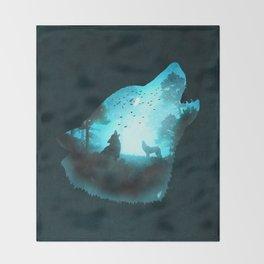 Blue Wolf Throw Blanket