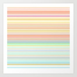 Soft Coral Aqua Hue Stripes Art Print