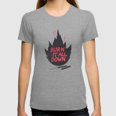 Burn It All Down Tri-Grey Womens Fitted Tee LARGE