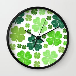 Saint Patrick's Day, Clovers - Green White Wall Clock