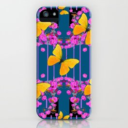 Modern Art Pink Flowers Yellow Butterflies Teal Color Garden iPhone Case