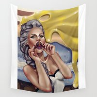 cherry Wall Tapestries featuring CHERRY by Enola Jay