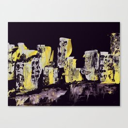 Yellow Purple Cityscape Canvas Print