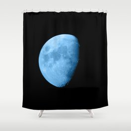 4K Dark Side of the Moon Ice Blue Shower Curtain