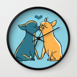 Chihuahua Kisses Wall Clock