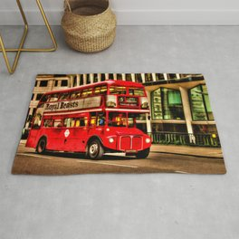 Trafalgar Square London Double Decker Bus Rug