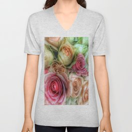 Roses - Pink and Cream Unisex V-Neck