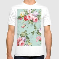 Elegant chic pink green roses flowers pattern MEDIUM White Mens Fitted Tee
