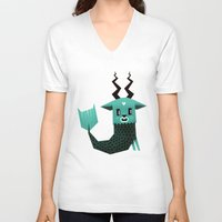 capricorn V-neck T-shirts featuring Capricorn by Yetiland