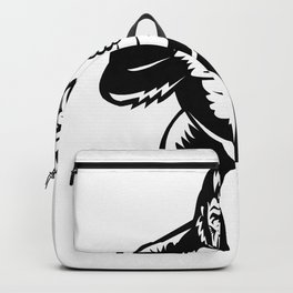 Silverback Gorilla Beating Chest Woodcut Backpack