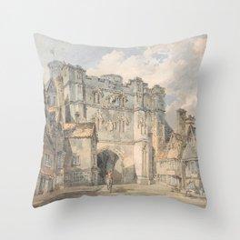 """J.M.W. Turner """"Christ Church Gate, Canterbury"""" Throw Pillow"""