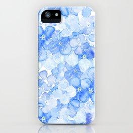 Elegant purple blue hand painted watercolor hortensia floral iPhone Case