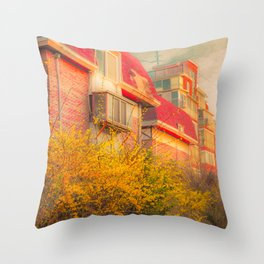 Korean house surrounded by beautiful yellow flowers Throw Pillow