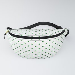 Small Green Polkadot Heart on Snow White Fanny Pack