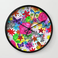 florence Wall Clocks featuring Florence  by sarah illustration