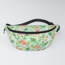 Peacock Feather Posies on white Fanny Pack