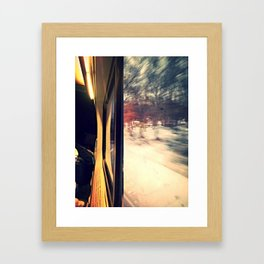 train car on a snowy day Framed Art Print