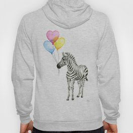 Zebra Watercolor With Heart Shaped Balloons Hoody