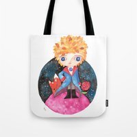le petit prince Tote Bags featuring Le petit prince by Laura Barocio