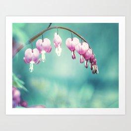 Bleeding Heart Flower Photography, Teal Pink Floral Photo, Turquoise Aqua Hearts Print Art Print