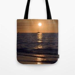 Summersunset with Boat - Warnemuende - Baltic Sea Tote Bag