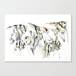 Fish Zebra Design, Angelfish aquarium design, underwater scene, black and white Canvas Print
