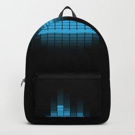 Blue Graphic Equalizer on Black Backpack
