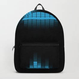 Cool Blue Graphic Equalizer Music on black Backpack