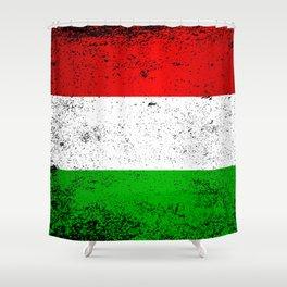 Flag of Hungary Grunge Shower Curtain
